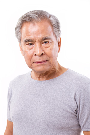 old asian: frustrated, depressed senior old man Stock Photo