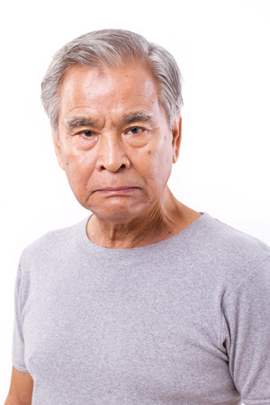 frustrated, angry, disappointed senior old man