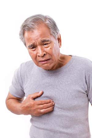 acid reflux: sick old man suffering from heartburn, acid reflux