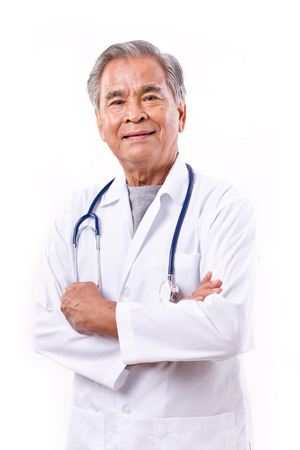 experienced: experienced asian doctor, arm crossing Stock Photo