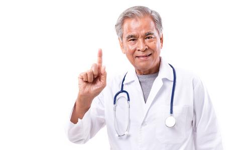 bata blanca: Doctor asiático dando sugerencia, que muestra gesto del dedo 1