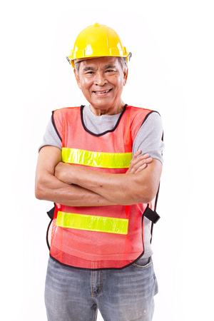 tough: successful and tough senior construction worker or engineer with scar