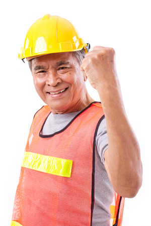 tough: successful and tough senior construction worker or engineer