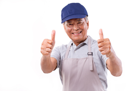 thumbup: smiling happy worker giving two thumbs up hand gesture