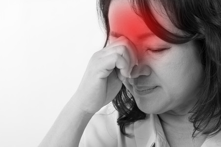 relief: sick, stressed woman suffering from headache, migraine