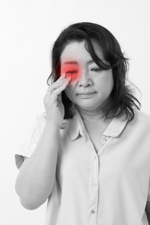 hyperopia: middle aged woman with vision issue, myopia, hyperopia, eye problem