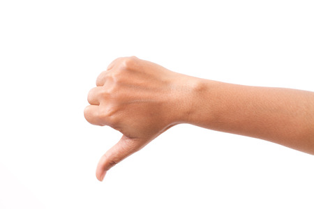 hand with thumb down gesture, isolated Stock Photo