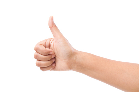 thumb up: hand with thumb up gesture, isolated