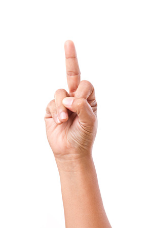 mid adults: hand showing middle finger