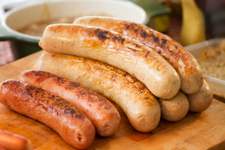 cooked sausage: delicious sausage, grilled or bbq