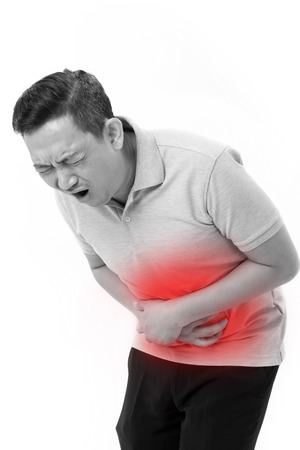 inflammatory bowel disease: asian man suffering from stomachache, constipation, indigestion, digestive problem