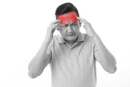 suffering: sick, stressful man suffering from headache, migraine