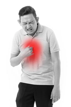 acido: hombre que sufre de reflujo ácido Foto de archivo