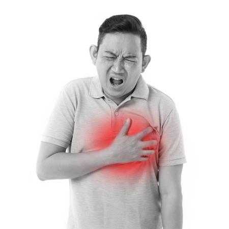 corazon en la mano: hombre enfermo que sufre de un ataque al corazón Foto de archivo