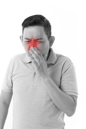 runny: sick man suffering from runny nose, cold, flu Stock Photo