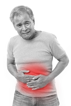 sick old man suffering from stomachache, diarrhea, indigestive problem