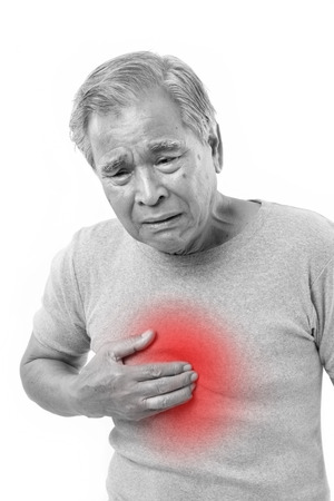 man face: sick old man suffering from heartburn, acid reflux