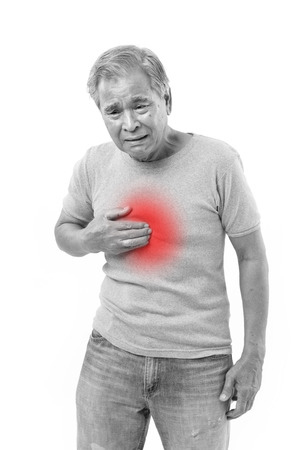 sick old man suffering from heartburn, acid reflux