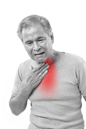 man face: senior man suffering from sore throat Stock Photo