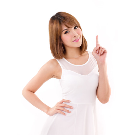 hand pointing: woman pointing up