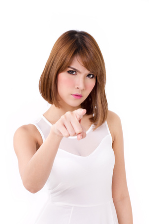 angry, displeased woman pointing at you