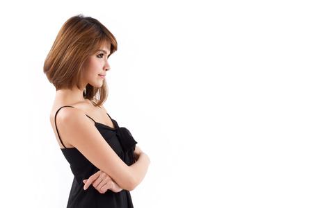 confident, smart, elegant, thinking woman looking sideways