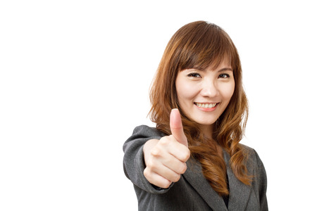 mature women: business woman giving thumb up