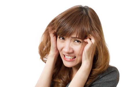 morale: frightened business woman looking Stock Photo