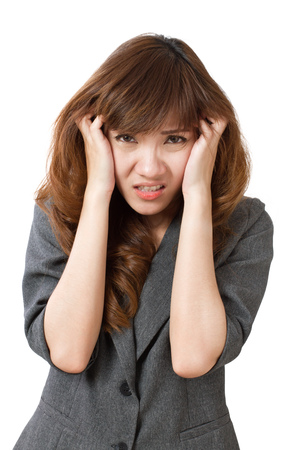 frightened: frightened business woman looking Stock Photo
