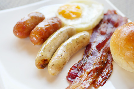 without: sausages, bacon and egg, breakfast without healthy vegetable