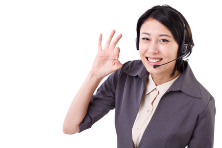 business help: happy business woman, help line, customer care staff showing ok hand gesture