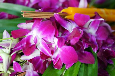 thai monk: buddhist flower offerings set Stock Photo