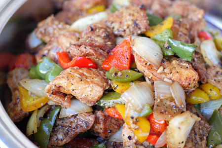 fry: wok fried spicy meat with black pepper and spices Stock Photo