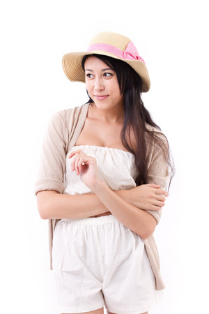 sideway: confident summer lady looking sideway to blank space Stock Photo
