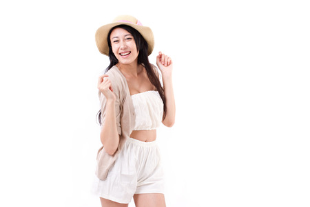 summer dress: cute, happy, smiling woman in summer dress Stock Photo