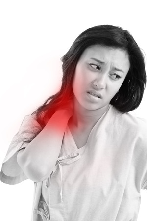 working stiff: woman suffering from shoulder pain, joint pain