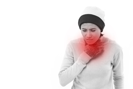 cold sore: sick woman suffering from sore throat