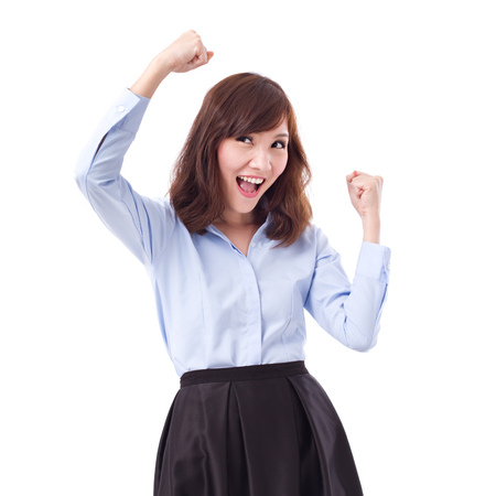 exited, happy, smart casual asian woman posing cheerful, successful pose