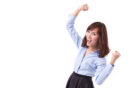 asian adult: exited, happy, smart casual asian woman posing cheerful, successful pose