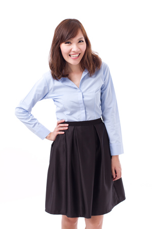 akimbo: happy asian woman, arm akimbo