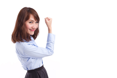 satisfying: strong, happy, smart casual asian woman posing satisfying and successful pose