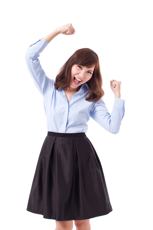 one woman: exited, happy, smart casual asian woman posing cheerful, successful pose