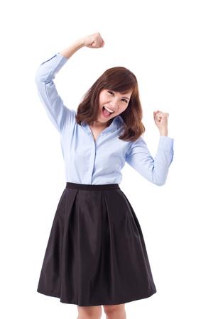 mujer alegre: nerviosa, feliz, inteligente mujer asiática casual posando alegre actitud, éxito