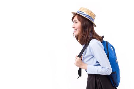 mochila de viaje: Mujer de Asia y viajero que busca manera de la cara, el estudio aislado del modelo de la mujer Foto de archivo