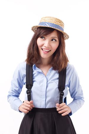 Asian kobieta samotnie patrz? Cw gór ?, studio odizolowanych od modelu kobiety Zdjęcie Seryjne