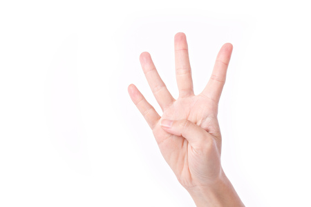 hand pointing up 4 fingers, studio isolated