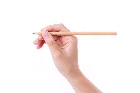 manos: mano de la mujer que sostiene un lápiz, escribir, dibujar, señalando