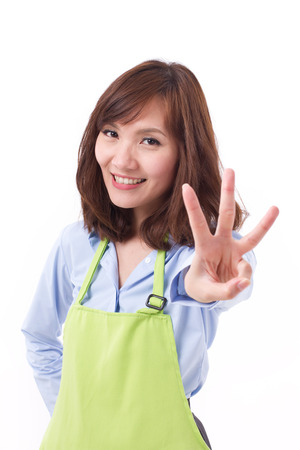 hand pointing: smiling, happy, positive woman with hand pointing up 3 fingers, concept of counting, numbering, sorting, pointing out something
