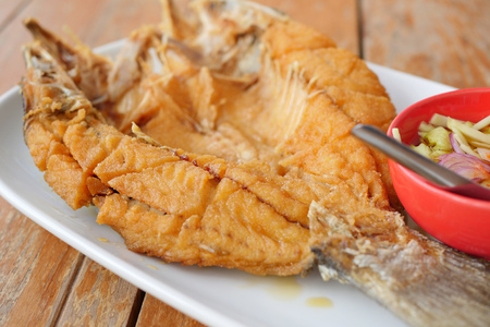 deep fried snapper, asian thai seafood Stock Photo
