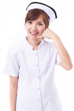 asian nurse with hand gesture of contact us, information, FAQ, help line or assistance